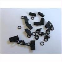 5 Endteile Bandenden montiert 16mm schwarz