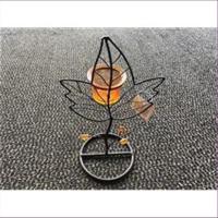1 Windlicht Teelichtglas Ahornblatt