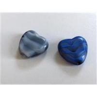 2 Glasperlen Herzen 14mm