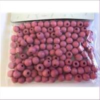 125 Holzperlen 6mm rosa