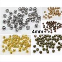 50 Filigranperlen 4mm goldfarbig