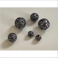 10 Filigranperlen 6mm gunmetall grau
