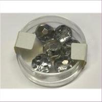 6 Glasschliffperlen 10mm cristall-silber