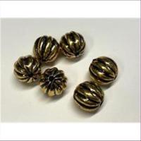 6 Acrylperlen Rillenperlen antikgold 12mm