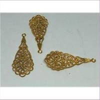 2 Ornament-Anhänger filigran Tropfenform goldfarbig