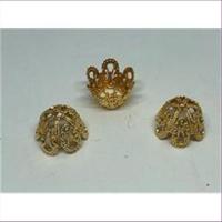 10 filigrane Perlkappen goldfarbig dunkel