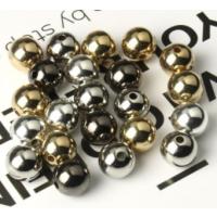 10 runde Metallperlen 8 - 12 mm
