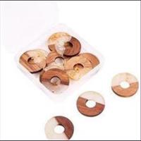 1 Anhänger Holz & Resin Donut 28mm