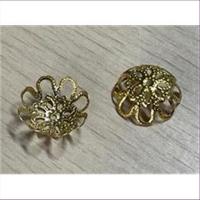 2 Perlkappen 15mm goldfarbig