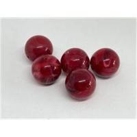 10 runde Acrylperlen rot marmoriert 14mm