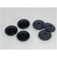 2 Acrylperlen flach rund Disc schwarz