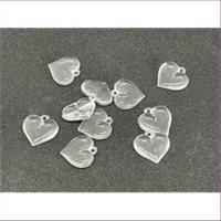 10 Anhänger Acryl Herzen transparent