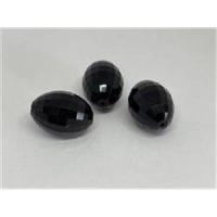 3 ovale Acrylperlen facettiert schwarz