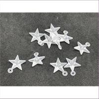 10 Anhänger Acryl Sterne mattweiß