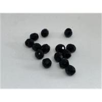 10 Glasperlen rund facettiert geschliffen schwarz
