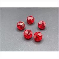 10 Glasperlen rund facettiert geschliffen rot
