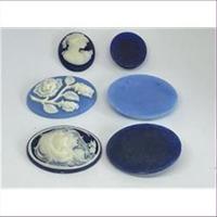 1 Camee Kamee Cabochons  blau-weiß 003