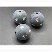 1 runde Acrylperle mattschwarz Mond Sterne