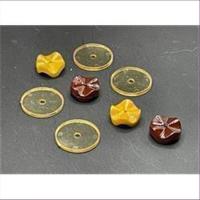 5 Acrylperlen amber-braun