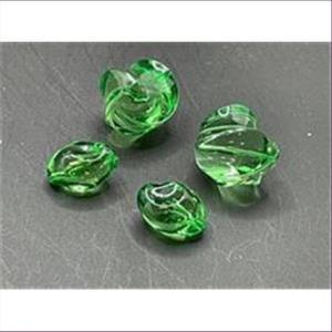5 Acrylperlen gedreht grün transparent 18x18mm