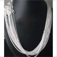 1 Halskette feine Erbskette 1mm  Silber