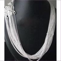 1 Halskette feine Erbskette 1mm  Silber 55cm