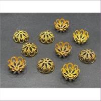 10 Perlkappen 13,5mm goldfarbig