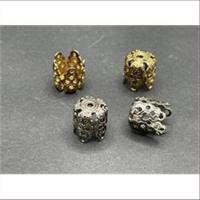 5 Perlkappen filigran 11x10mm antikgold