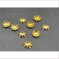 10 Perlkappen Blumenform 11,5mm goldfarbig gebeizt