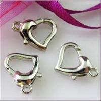 3 Herz Carabiner silberfarbig Weißbronze