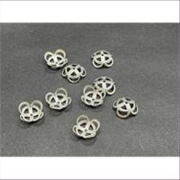 10 Perlkappen Blumenform 8,8mm silberfarbig