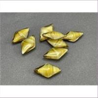 10 Bastelsteine Raute  18,5x10,5mm olivgrün marmoriert
