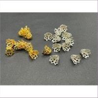 10 Perlkappen goldfarbig