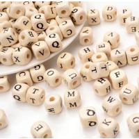 100 Buchstabenperlen Würfelperle Holz 10mm A-Z